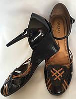 Босоножки женские, Via Uno черные, натуральная лакированная кожа, большой размер 41, фото 1