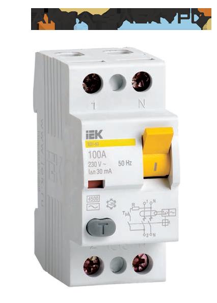 Пристрій захисного відключення (ПЗВ) ВД1-63 2р 25А 30мА IEK