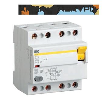 Пристрій захисного відключення (ПЗВ) ВД1-63 4р 16А 30мА IEK