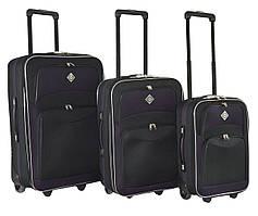 Набор чемоданов на колесах Bonro Best Черно-темно-фиолетовый 3 штуки