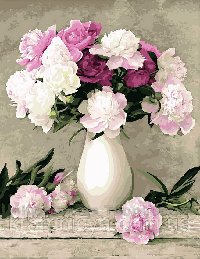 Картина по номерам 40х50 Пионы в белой вазе (G069)