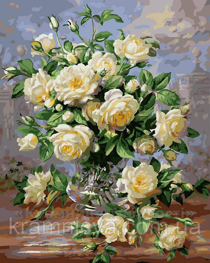 Картина по номерам 40х50 Белые розы (G439)