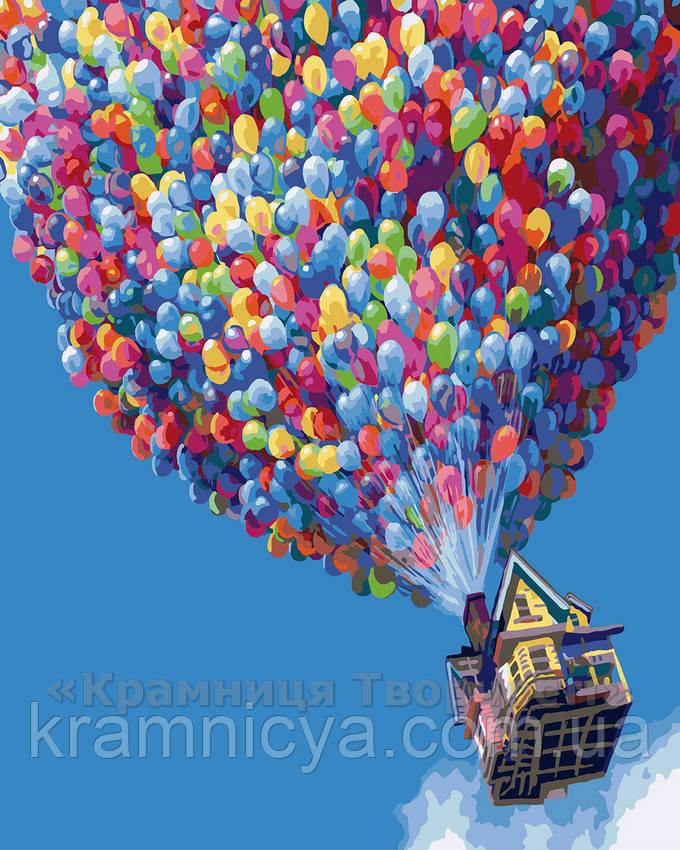 Картина по номерам 40х50 Полёт на воздушных шариках (G396)