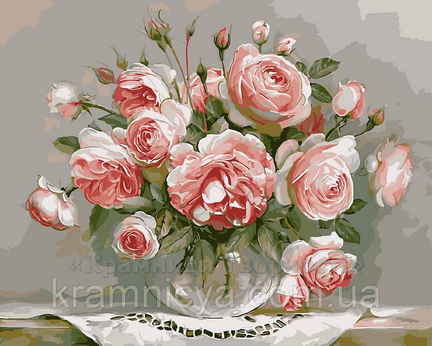 Картина по номерам 40х50 Розы на столике (G436)