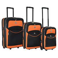 Набор чемоданов на колесах Bonro Best Черно-оранжевый 3 штуки