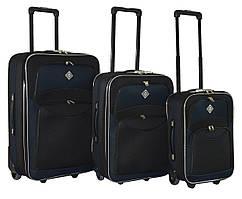 Набор чемоданов на колесах Bonro Best Черно-темно-синий 3 штуки