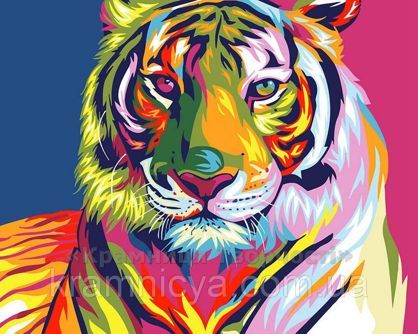 Картина за номерами 40х50 Райдужний тигр (GX9203)