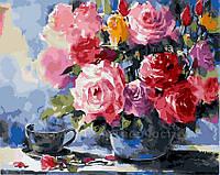 Картина по номерам 40х50 Розы в вазе (GX5732)