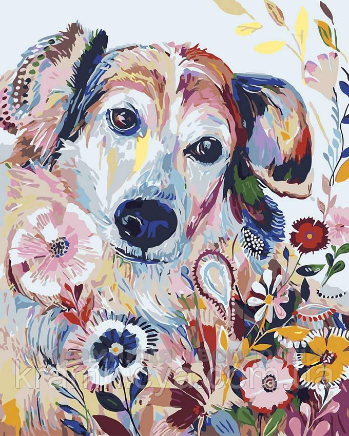 Картина по номерам 40х50 Цветочный пёсик (GX4298)