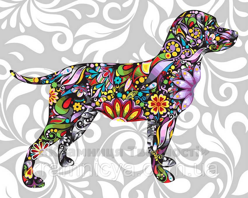 Картина по номерам 40х50 Цветочная собака (GX21240)