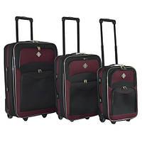 Набор чемоданов на колесах Bonro Best Черно-вишневый 3 штуки