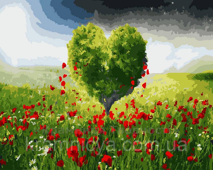 Картина по номерам 40х50 Дерево любви в зелёном поле (GX22532)