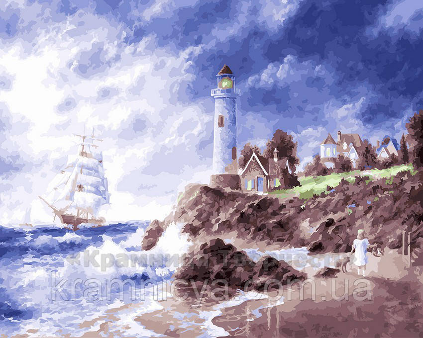 Картина по номерам 40х50 Белый парус у маяка (GX22601)