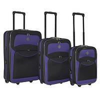 Набор чемоданов на колесах Bonro Best Черно-фиолетовый 3 штуки
