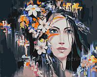 Картина по номерам 40х50 Девушка в цветах (GX23442), фото 1