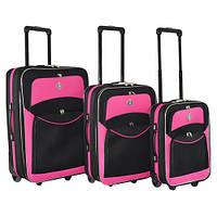 Набор чемоданов на колесах Bonro Best Черно-розовый 3 штуки