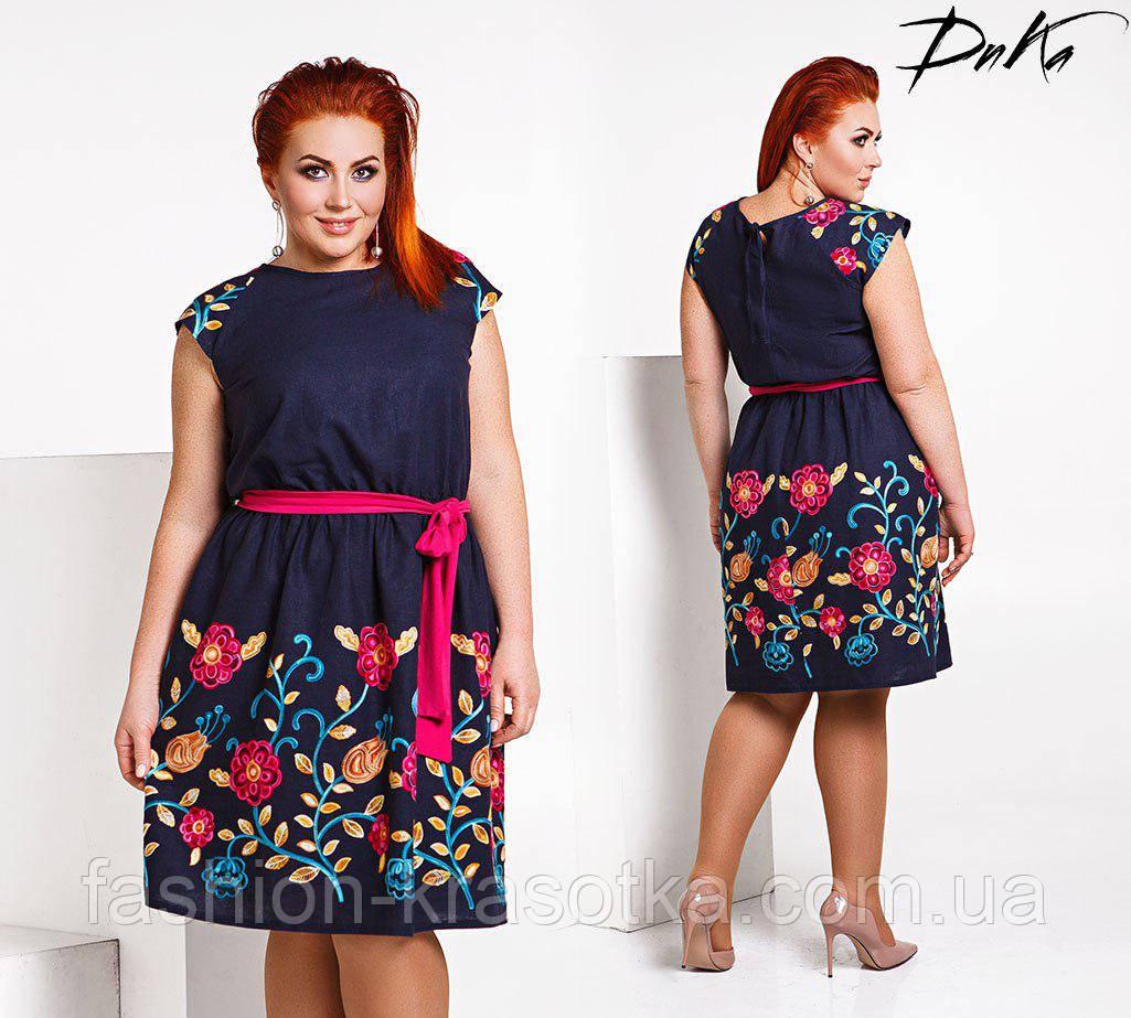 Модное льняное платье с вышивкой