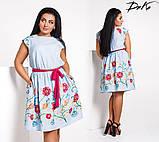 Модное льняное платье с вышивкой , фото 2