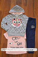 Спортивный трикотажный костюм-тройка для девочек, фото 1