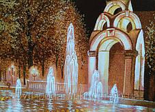 Фонтан Зеркальная струя Харьков ночью пейзаж из янтаря, фото 3