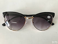 Солнцезащитные женские очки с диоптриями, круглые. Модель  2173 черные, фото 1