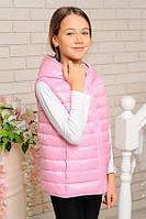 Двухсторонняя  розовая жилетка для  девочек, фото 1
