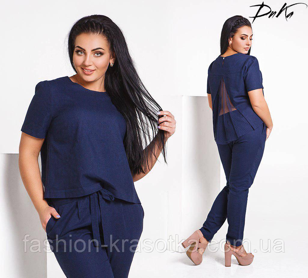 Нарядный модный летний  костюм блузон+брюки в размерах 42-56