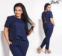 Нарядный модный летний  костюм блузон+брюки в размерах 42-56, фото 1