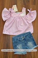 Летний джинсовый костюм с блузой с для девочек, фото 1