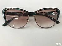 Очки от солнца с диоптриями, с коричневой тонировкой, бабочки. Модель 2174 коричневые, фото 1