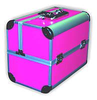 Чемодан металлический раздвижной розовый мат