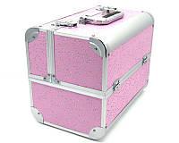 Чемодан металлический раздвижной с стразами розовый