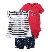 Комплект одежды для девочки туника боди с коротким рукавом и шорты 3 в 1 Berni Красный с синим (45693)