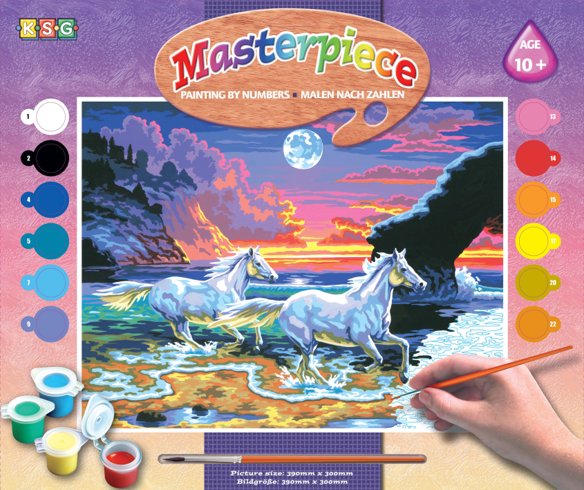Набор для творчества Sequin Art PAINTING BY NUMBERS SENIOR Horses in the Surf SA0041