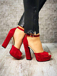 Босоножки замш Lux Fashion, красный