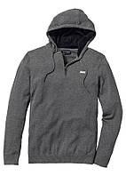Пуловер мужской с капюшоном серый