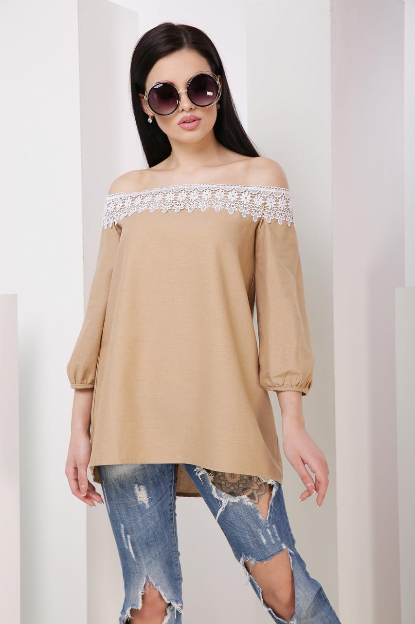 Блуза легкая летняя с кружевом