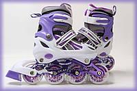 Ролики детские раздвижные на 4 колесах POWER CHAMPS фиолетовые 29-33, 34-37