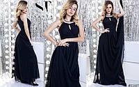 Платье длинное индиго с жемчугом нарядное