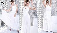 Платье длинное с жемчугом нарядное белое