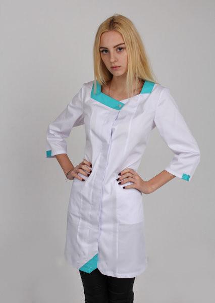 Медицинский халат с бирюзовой вставкой (74)