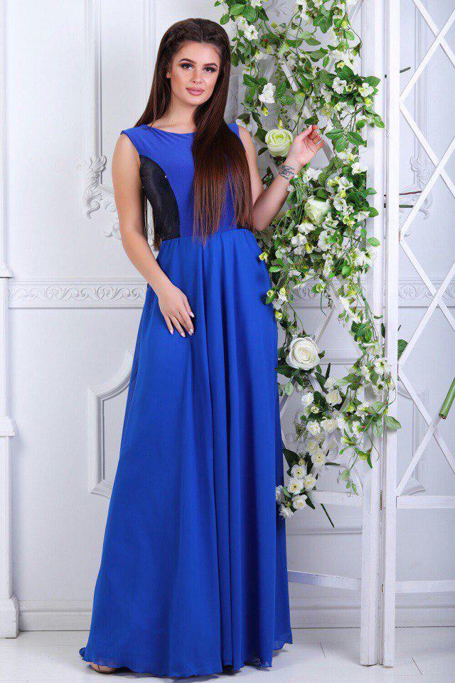 Платье длинное электрик с пайеткой
