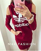 """Женская стильная туника из двухнитки с накаткой """" ADIDAS"""", в расцветках (М-14-0418)"""