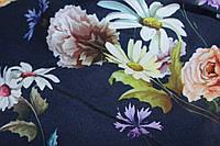 Ткань супер софт цветочная поляна на темносинем фоне, фото 1