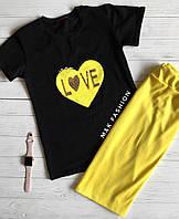 Женский костюм: футболка с сердечком из пайетки и юбка с утяжкой, в разных моделях (М-15-0418)