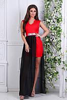 Платье длинное вечернее с шифоном красное с чёрным