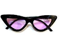 Модные очки кошачий глаз, лисички  с пластиковой черной оправой