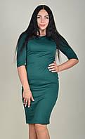 Платье футляр женское ZANNA BREND 100 рукав три четверти тёмно-зелёный