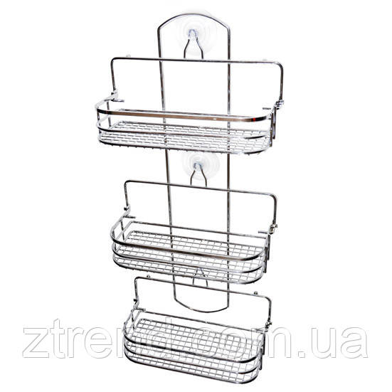 Полка для ванной 3-ярусная прямоугольная раскладная 58*26*12 см