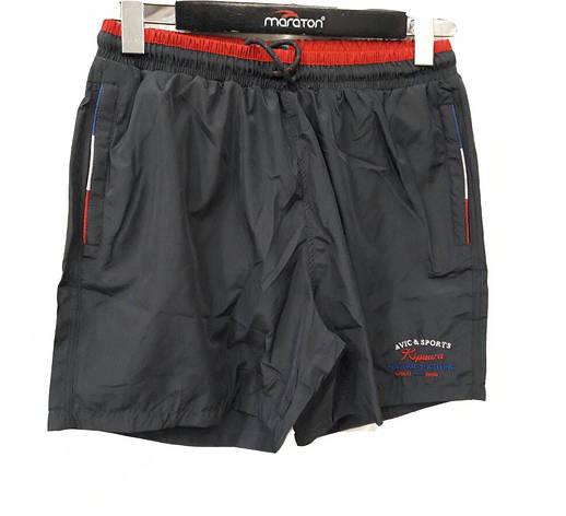 Мужские плащевые шорты  Авик с красной отделкой на поясе Avic Sport, фото 2
